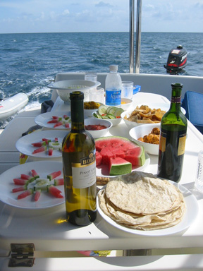 Yum yum while sailing