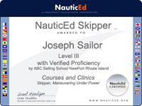 sailing certificate
