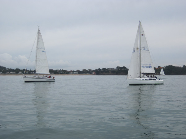 Anchored during a regatta race