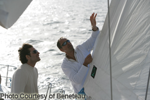 a sailing instructor teaching a student
